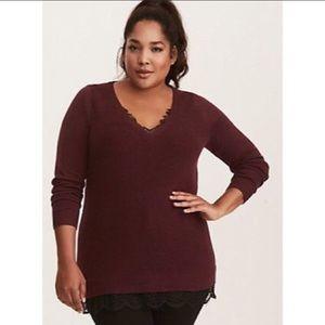 Torrid maroon lace sweater